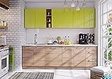 naka24 Komplett Küche LUNA260 Schränke mit Arbeitsplatte Verschiedene Farben Hochglanz/Matt (Grün/Sonoma)