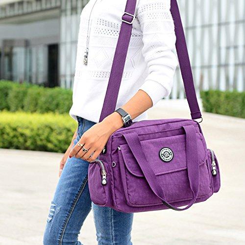 MeCooler Umhängetasche Leichter Kuriertasche Lässige Handtasche Damen Schultertasche Wasserdicht Taschen Messenger Bag Mode Reisetasche Sporttasche für Mädchen Beige