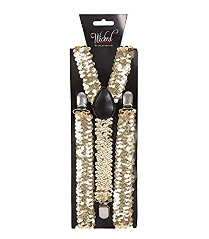Adults Braces Fancy Dress Halloween Role Play Costume Accessory - Gold Sequin