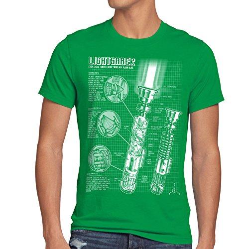 style3 Laserschwert Blaupause Herren T-Shirt Jedi Lichtschwert, Größe:M, Farbe:Grün
