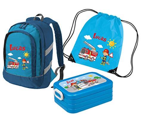 Mein Zwergenland Set 4 Kindergartenrucksack Bicolor + Brotdose Lunchbox Maxi und Turnbeutel mit Namen, 3-teilig, Feuerwehr, Blau