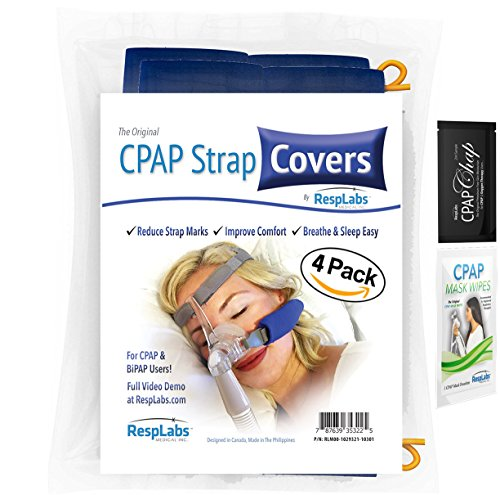 CPAP-Bügel-Cover, Fleece-Material Comfort Pad w / Führungsdraht durch RespLabs Medical | Reduzieren Rötungen, Minimieren Strap Marks - The Original Cheek Kissen (4 Pack) (Kurze Pad)