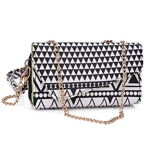 Kroo Pochette/étui style tribal urbain pour Lava 3G 354/Iris 356 Multicolore - vert Multicolore - Noir/blanc