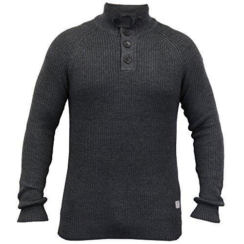 Pullover Herren Crosshatch Strickpulli Pullover Top Gerippte Lässig Winter Neu Dunkelgrau - MASONS