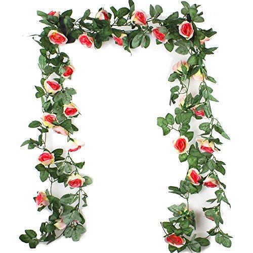 Ezeso 7.5ft fiore artificiale rosa ghirlanda vite con foglie verdi falso appeso fiore pianta ghirlanda per la festa di nozze da parete giardino decorazione di san valentino (champagne, 2 pacchi)