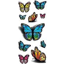 TAFLY 3d Color Mariposa Cuerpo Art Tatuajes Temporales Adhesivo 5 Hojas
