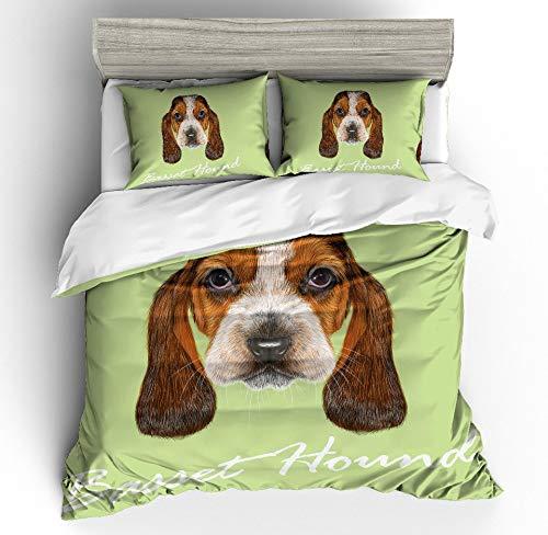 JSDJSUIT Bettwäsche-Set MUSOLEI 3D Bettbezug -Set Tier Hund BagudogKopf -Bett -Blatt Twin Queen König, AU Königin 3pcs - Blatt Camouflage Königin