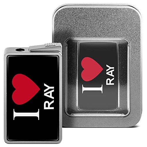 Feuerzeug mit Namen Ray - personalisiertes Gasfeuerzeug mit Design I Love - inkl. Metall-Geschenk-Box