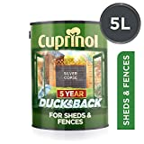 Cuprinol Ducksback 5 Year Waterproof for Sheds and Fences, 5 L - Silver