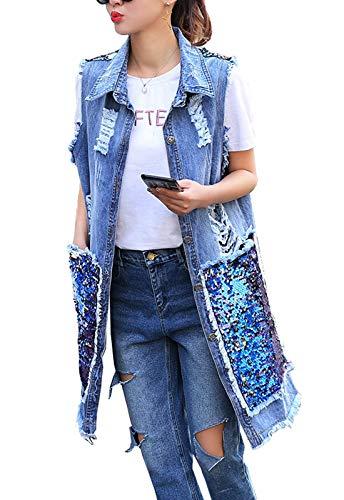 Flygo Damen Jeansjacke, ärmellos, Vintage-Stil, Jeansjacke - Blau - Klein Junior Fashion Denim Jacke
