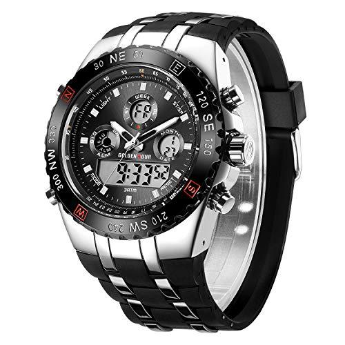 ograph Sportuhr Digital Analog Kompass Armbanduhr Wasserdicht Datum Hintergrundbeleuchtung Militär Uhren für Herren ... ()