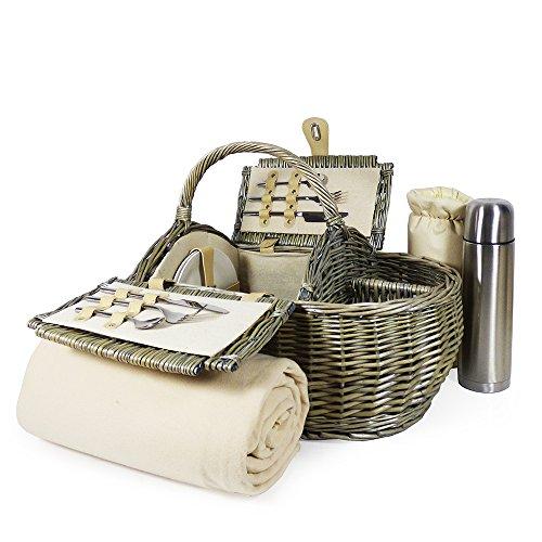 Luxus- oder Picknickkorb & Zubehör --Kollektion, Qualität und mit Fleece-Picknick-Decke, Edelstahl Flachmann-Geschenkideen für Väter, Valentinstag, Muttertag, Geburtstag, Hochzeit, Jahrestag und