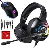 ONIKUMA K6 RGB LED Light Pro Over-Ear 7.1 Surround Sound Noise Cancelling Gaming Headset Kopfhörer Mikrofon Set mit 8000 DPI RGB Maus für PC, MAC, Desktop, Laptop Computer