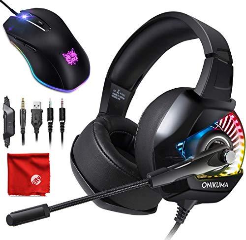 ight Pro Over-Ear 7.1 Surround Sound Noise Cancelling Gaming Headset Kopfhörer Mikrofon Set mit 8000 DPI RGB Maus für PC, MAC, Desktop, Laptop Computer ()