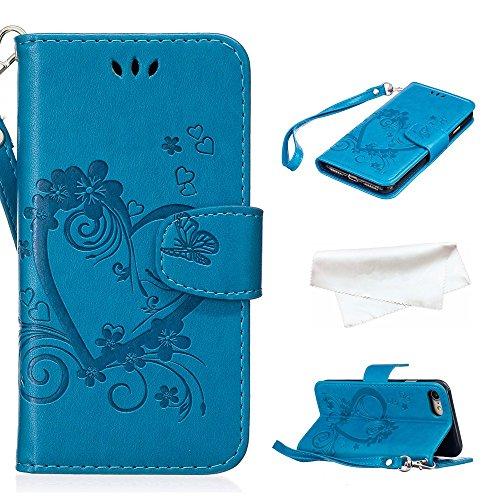 Cover per iPhone 8 / iPhone 7, Vectady Cover Custodia in Pelle a Libro Portafoglio Wallet Magnetica Flip Cuoio Leather Case Protettiva Antiurto Caso con Porta Carte Funzione Cinturino da Polso Disegni Blu