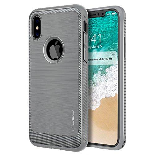 MoKo iPhone X Hülle - Premium Ultra Slim Leicht weiches TPU Silikon Phone Case Anti-Kratzer Kohlefaser Design Handy Schutzhülle Schale für Apple iPhone X / iPhone 10 2017 Smartphone, Grau Grau