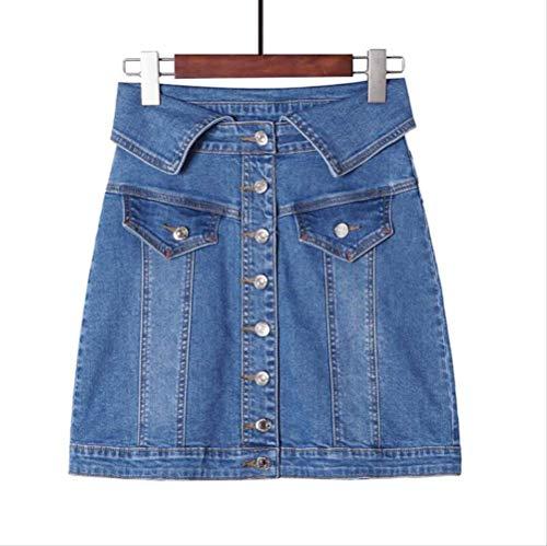 DWWAN Kurzer Rock Rock Hohe Taille EIN Wort Minirock Damen Sommer Single Button Button Blau Denim Rock Style Jeans XXL Blau -