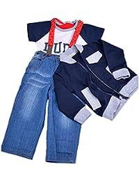 FINEJO Cool Boy Kid Coat+T-shirt+Jeans Outfit Set Long Strap Tops Suit Clothing 1-5 Y