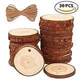 Rodajas de Madera Círculos 30pcs 6-7cm Fuyit Discos de Madera Rebanada + 10m Cuerda de Cáñamo Maderas Naturales Perforado Con Corteza de Árbol Para Manualidades DIY (2.4-2.8)