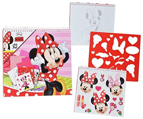 Unbekannt XL Malbuch / Malblock - mit Schablonen + Sticker Aufkleber + Buntpapier - Disney Minnie Mouse - Malvorlagen Zum Ausmalen Malspaß - für Mädchen Kinder Maus / Malbücher - Malset