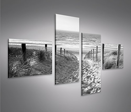 Bild Bilder auf Leinwand Weg zum Meer Schwarz/Weiss Nordseestrand 4L XXL Poster Leinwandbild Wandbild Dekoartikel Wohnzimmer Marke islandburner (Bild Weg)