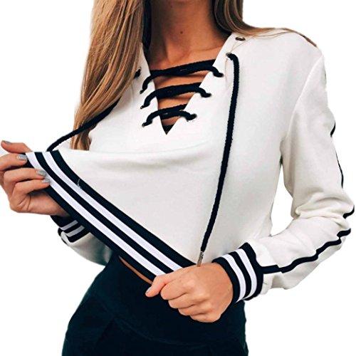 Damen Sweatshirt,Dasongff Herbst Damen V-Ausschnitt Langarm Strickpullover Volltonfarbe Kordelzug Oberteile Sweatshirt Tops Weiß (L, Weiß) (V-ausschnitt Kordelzug)