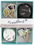 48-teiliges Muffin Deko Set / Muffin Papierförmchen / Cupcake Deko Förmchen mit Motiv Schule für Einschulung, Zeugnis, Schulabschluss