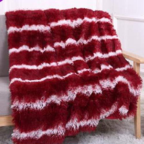 SIKESONG Super Soft Gestreifte Lange Flauschige Fuzzy Decke Warm Und Elegant Komfortabel Werfen Decke Plaid Rote Und Weiße Streifen 150 X 200 cm (Weiß Fuzzy-decke)