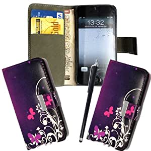 For Apple Iphone 5 5s 5g 5th Gen A Ultra Butterfly On Purple (TS) Book Type Printed PU Leather Magnetic Flip Case Cover + Stylus + Screen Guard
