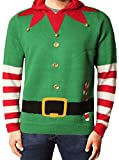 Weihnachts Jumper Weihnachten Xmas 3D Sweatshirt Sankt Elf Schneemann Strickwaren Threadbare,IMX023 Elf Kapuzenpullover Lebendig Grün,S