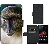 Super Galaxy Cell Phone Card Slot PU Leather Wallet Case // V00003899 sykes monkey mount kenya // Sony Xperia Z5