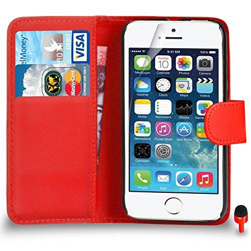 Apple iPhone SE Pack 1, 2, 3, 5, 10 Protecteur d'écran & Chiffon SVL0 PAR SHUKAN®, (PACK 10) Portefeuille ROUGE