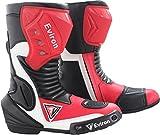 EVIRON Motorrad rot & weiß Schutz Boots- Wasserdicht, Black Red & White - Größe: 44