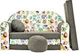 Pro Cosmo A5 Kids Sofa Bed with Pouffe/Footstool/Pillow, Fabric, Multi-Colour, 168 x 98 x 60 cm