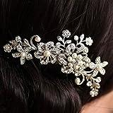 Viskey 35246 - Peineta apropiada para bodas, con detalle de flores y perlas, color plateado