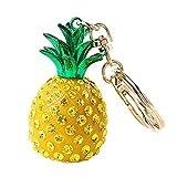 Outflower Damen Ananas Form Handtaschen Anhänger Legierung Strass Schlüsselanhänger Ornament Keychain Decor für Taschen, Länge Ca. 12 cm (Gelb)