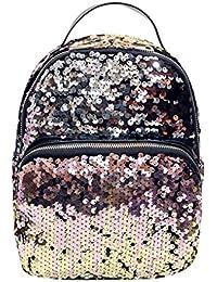 Bolso, Manadlian Moda Mujer Mochila Colegio Bolso estilo lentejuelas Bolsa para la escuela (20cm*10cm*26cm, Rosa)