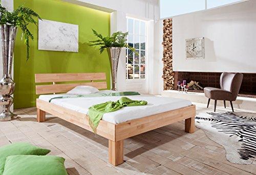 Erst-Holz® Futonbett Buche massiv Einzelbett 90×200 Jugendbett Gästebett Bett mit Rollrost 60.86-09