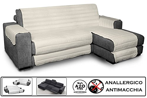 Biancheria&casa copridivano angolare con penisola antimacchia per divano con chaise longue relax : colore - panna, misura - 290 cm.