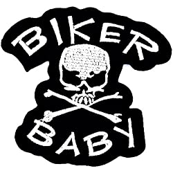 Rabana Biker Baby Skull and Crossbones motorcycle Uniform patch bambini cute Animal patch per DIY applique Iron On patch T shirt patch Sew Iron On embroidered badge Sign costume