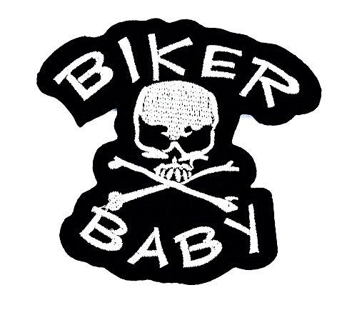 rabana Biker Baby Skull Totenkopf und gekreuzten Knochen Motorrad Uniform Patch Kinder Cute Animal Patch für Heimwerker-Applikation Eisen auf Patch T Shirt Patch Sew Iron on gesticktes Badge Schild Kostüm