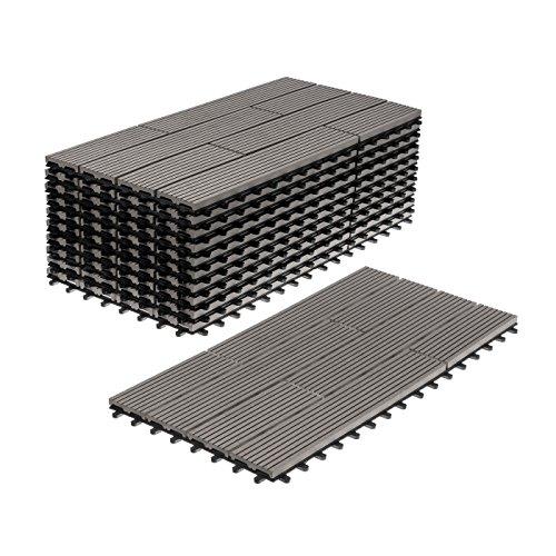 *WPC Terrassenfliesen 11 Stück / 2 qm Bodenfliesen Terrassenbelag Klickfliese (30×60 cm versetzt, grau)*