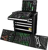 Ultra Edition * Werkzeugwagen * Werkstattwagen * black green - 7 Schubladen / 5 gefüllt mit. Werkzeug | Bit Sets, Ratschen, Nüsse und vieles mehr...