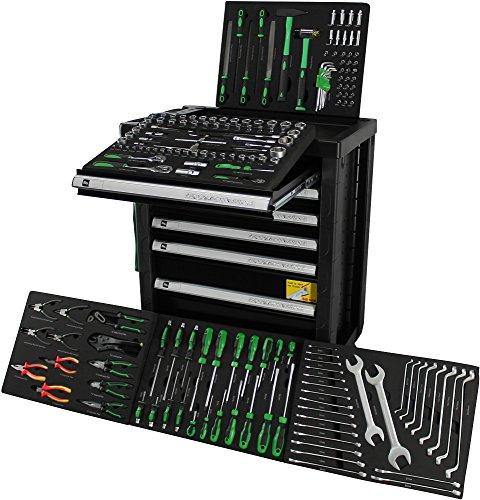 Ultra Edition * Werkzeugwagen * Werkstattwagen * black green - 7 Schubladen / 5 gefüllt mit. Werkzeug   Bit Sets, Ratschen, Nüsse und vieles mehr...