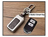 #4: FurnishMyAuto 2 Button Remote Car KEYLESS Key Cover case fob for Honda City Ivtec/Idtec and New Jazz TOP Model in Zinc Alloy and Leather Brown Color