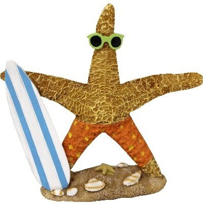 Unbekannt Comic Seestern in Badehose mit Gestreiften Surfboard und Sonnenbrille, ca15x15 cm