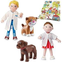 Haba Little Friends Tierarzt Anderas, Tierarzthelferin Rebekka mit Hund Dasty und Katze Sally Zubehör Tierklinik
