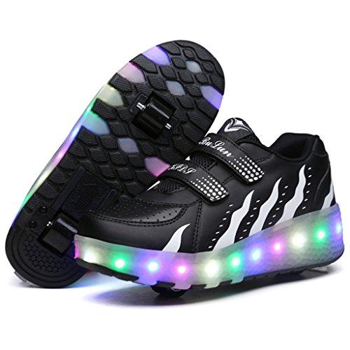 SGoodshoes Kinder 7 Farbe Farbwechsel Rädern Sportschuhe led Turnschuhe skateboard schuhe Mit Rollen Leuchtend Blinkschuhe für Herren Damen Schwarz