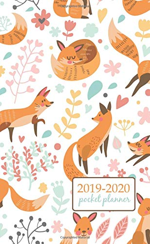 2019-2020 Pocket Planner: 2 Year Pocket Monthly Calenda Planner  Schedule Organizer Appointment Journal Notebook 4 x 6.5 inch cute foxes and flowers. ... design (2 Year Pocket Monthly planners) por Creative art planners