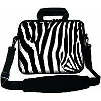 """Ektor Ltd - Borsa morbida porta computer da 10""""-17"""" con maniglia e tracolla, design assortiti Multicolore Zebra Stripes 17"""" (290x400mm)"""